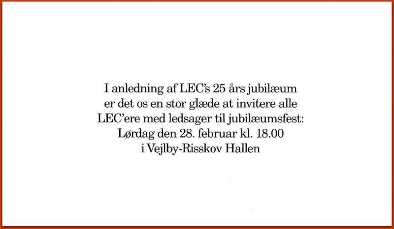 25 års jubilæum indbydelse 1987 - LEC