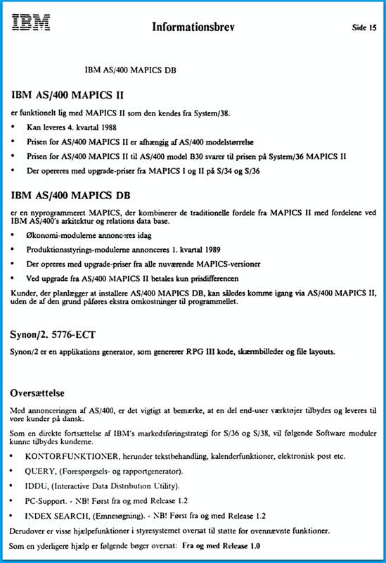 IBM AS400 1988 - LEC